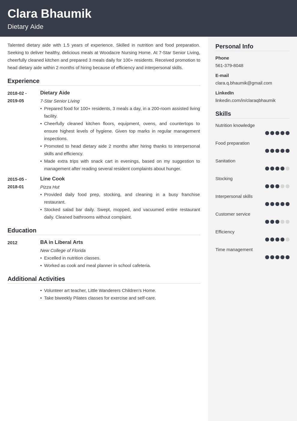 dietary aide resume example template cubic