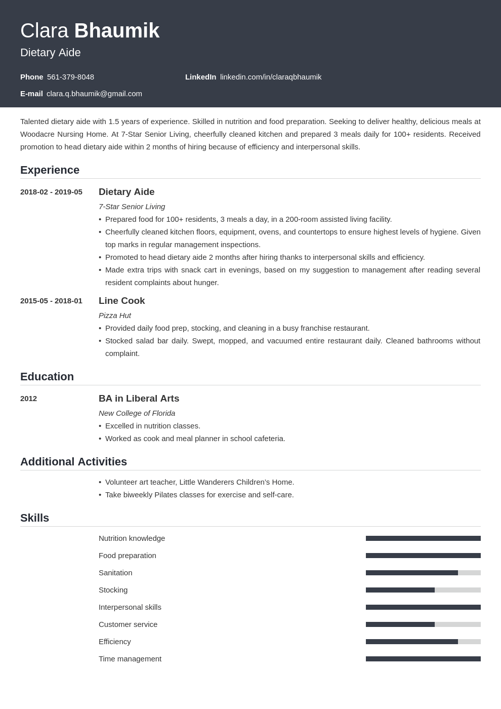dietary aide resume example template influx