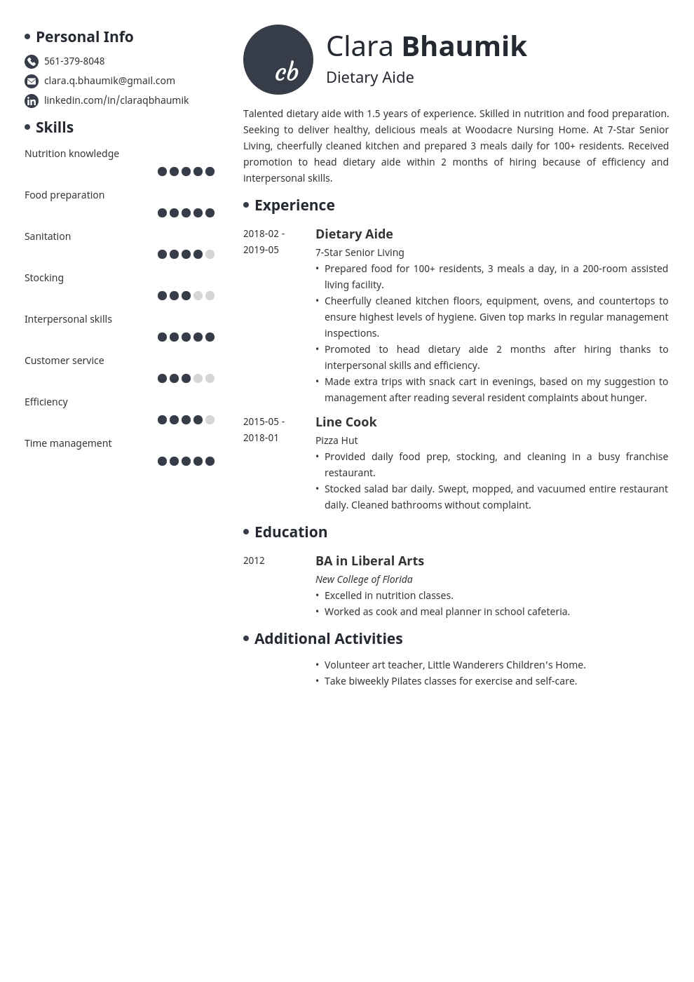 dietary aide resume example template initials