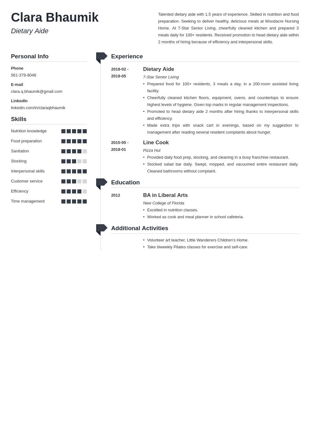 dietary aide resume example template muse