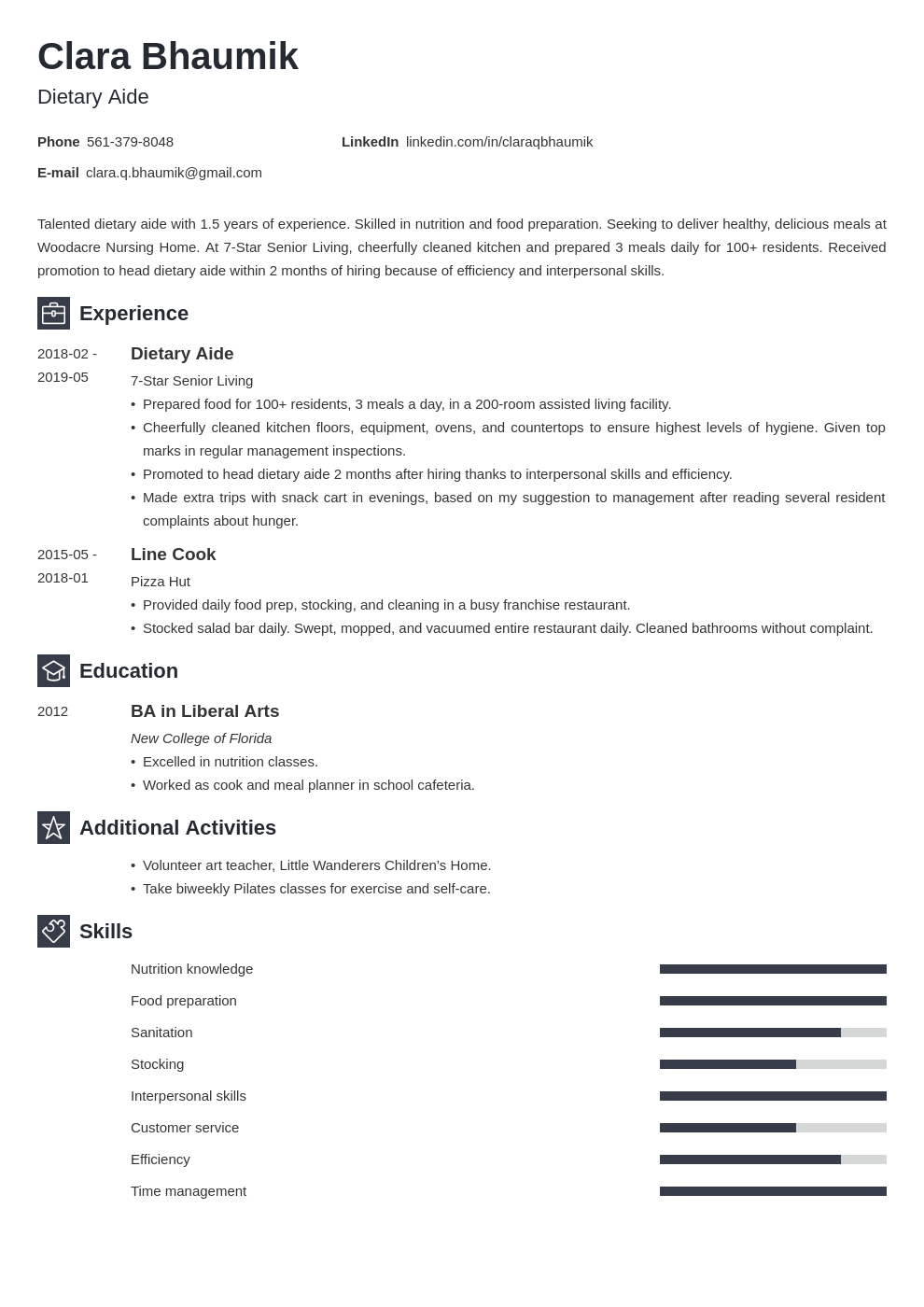 dietary aide resume example template newcast