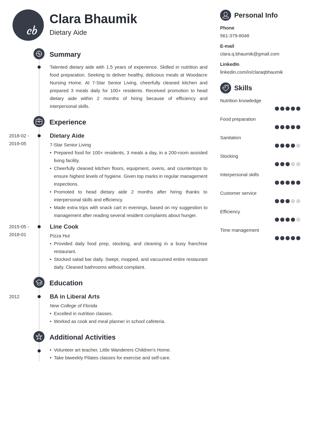 dietary aide resume example template primo