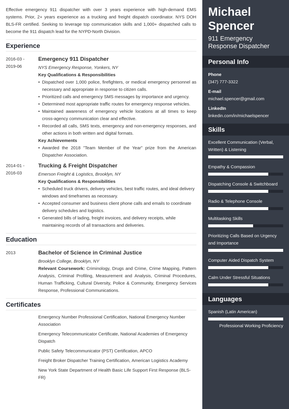 dispatcher resume example template enfold