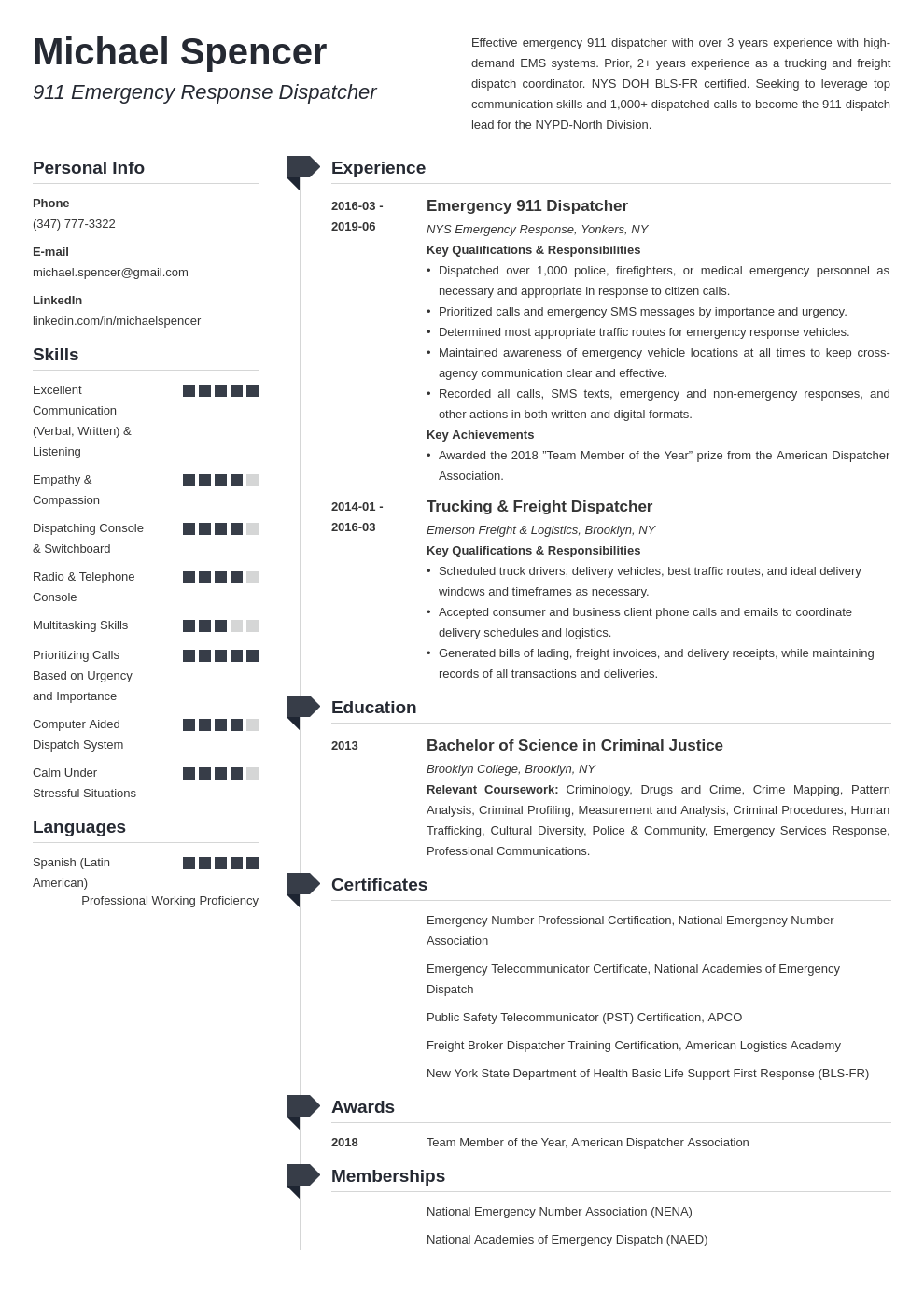 dispatcher resume example template muse