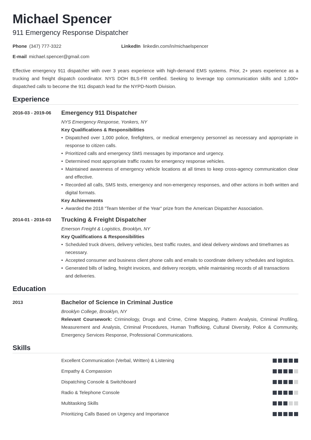 dispatcher resume example template nanica