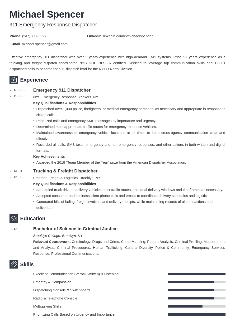 dispatcher resume example template newcast