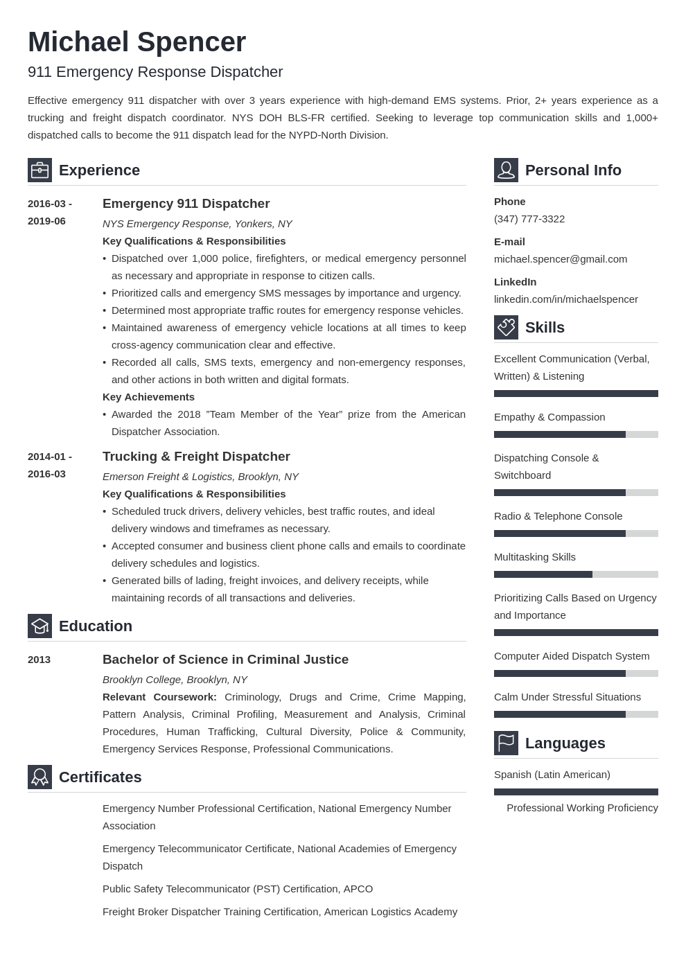 dispatcher resume example template vibes