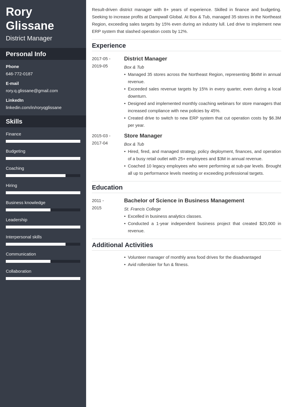 district manager resume example template cascade