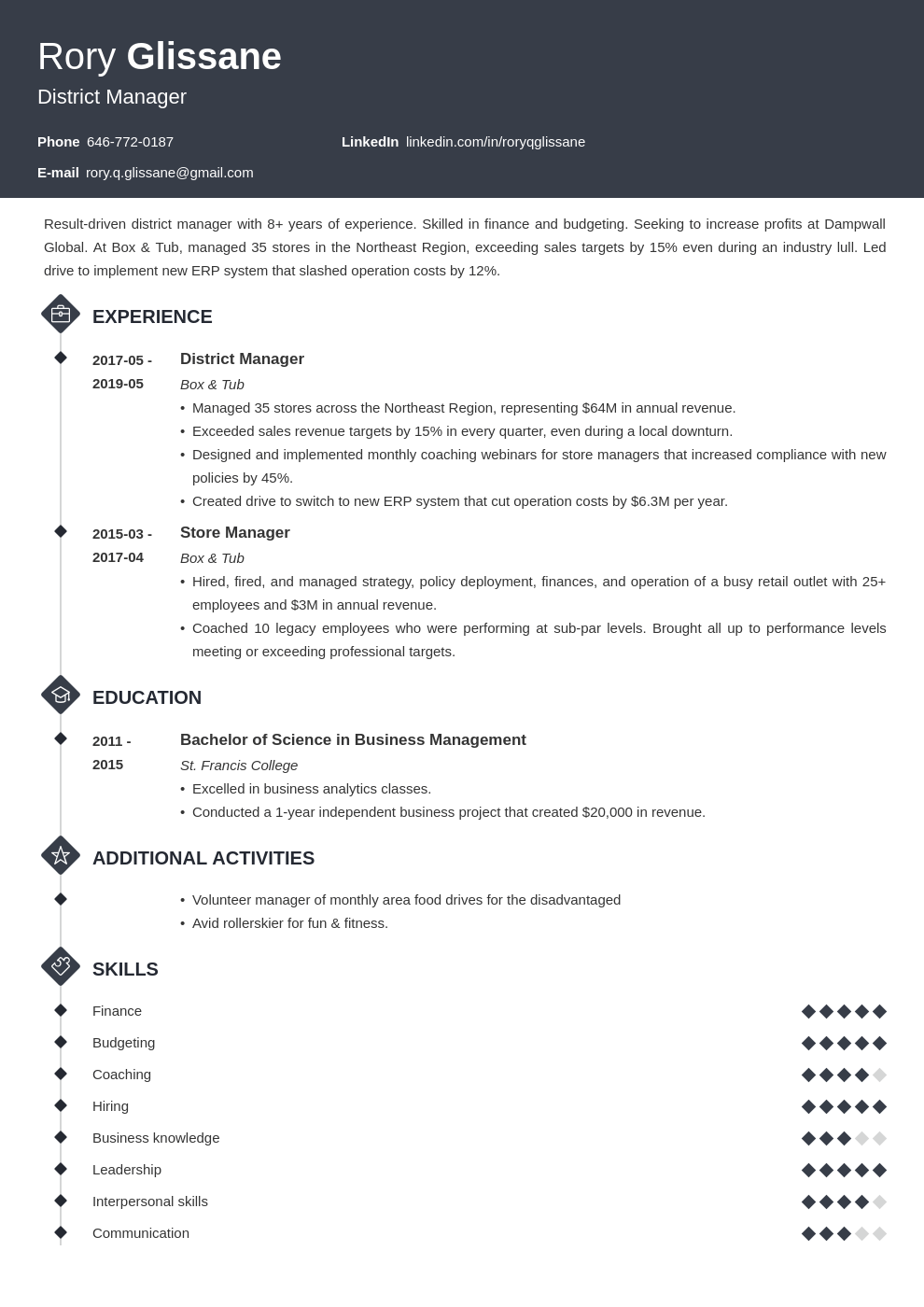 district manager resume example template diamond
