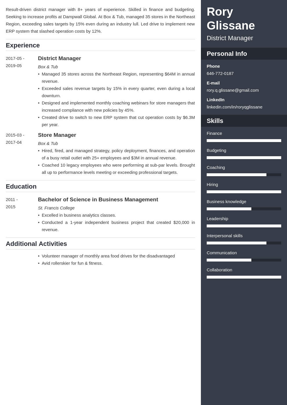 district manager resume example template enfold