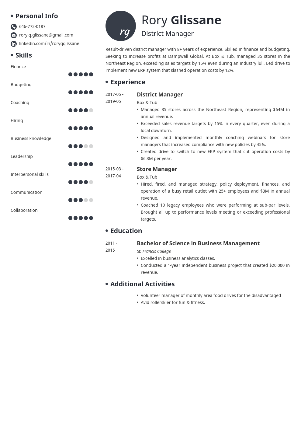 district manager resume example template initials