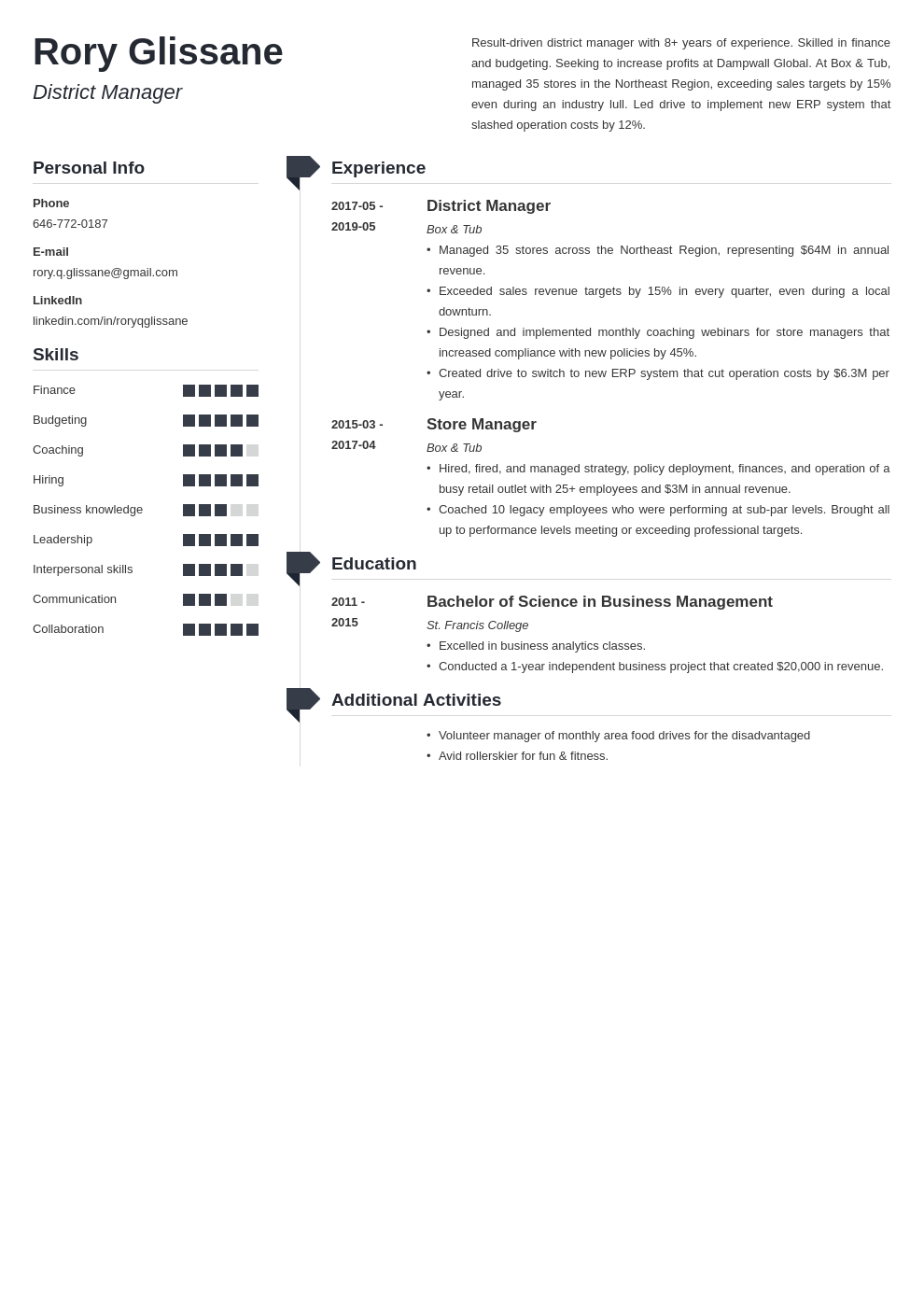 district manager resume example template muse