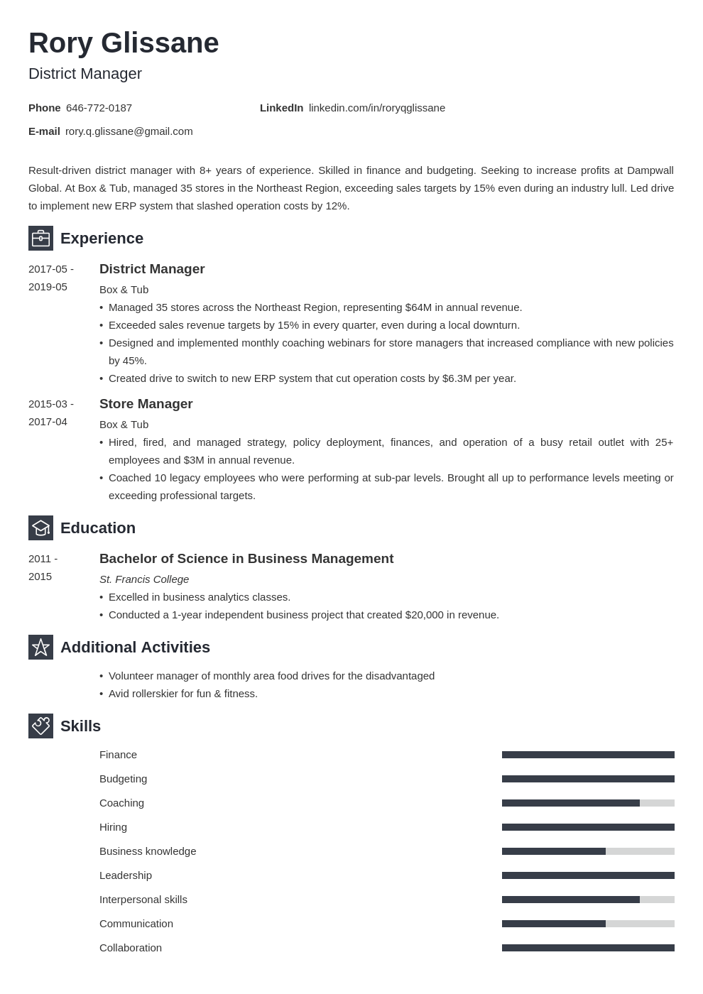 district manager resume example template newcast