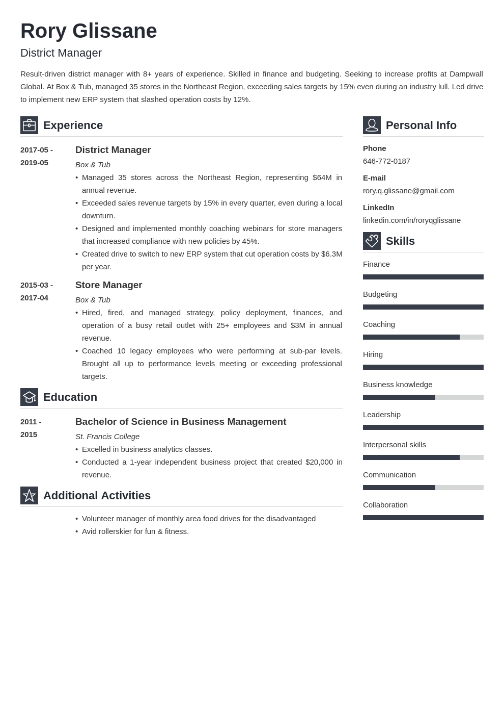 district manager resume example template vibes