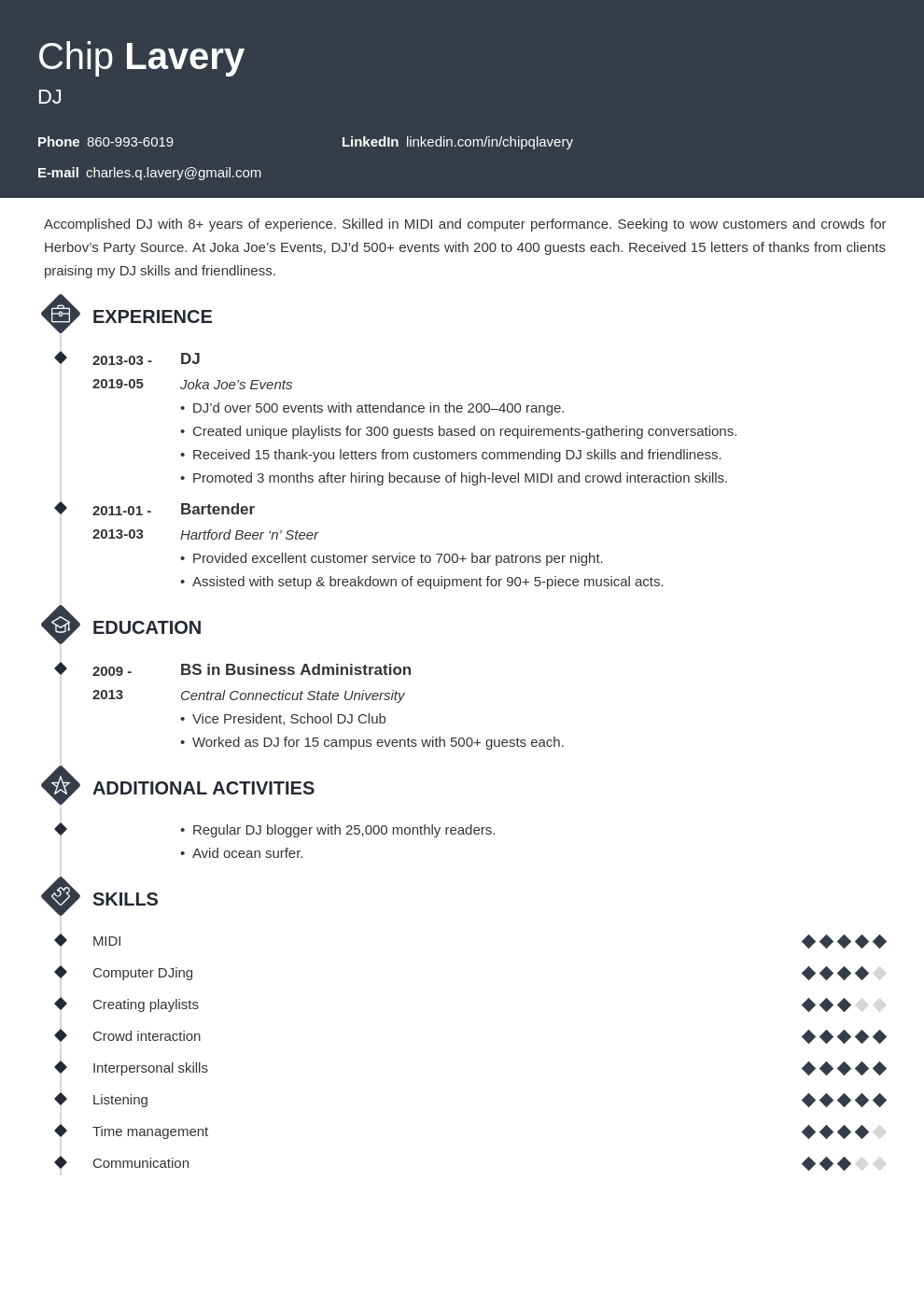 dj resume example template diamond
