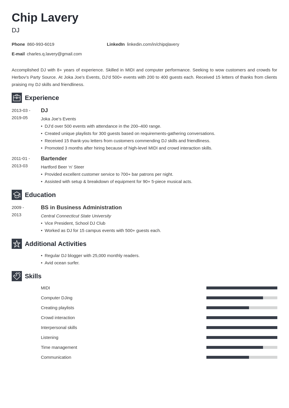 dj resume example template newcast