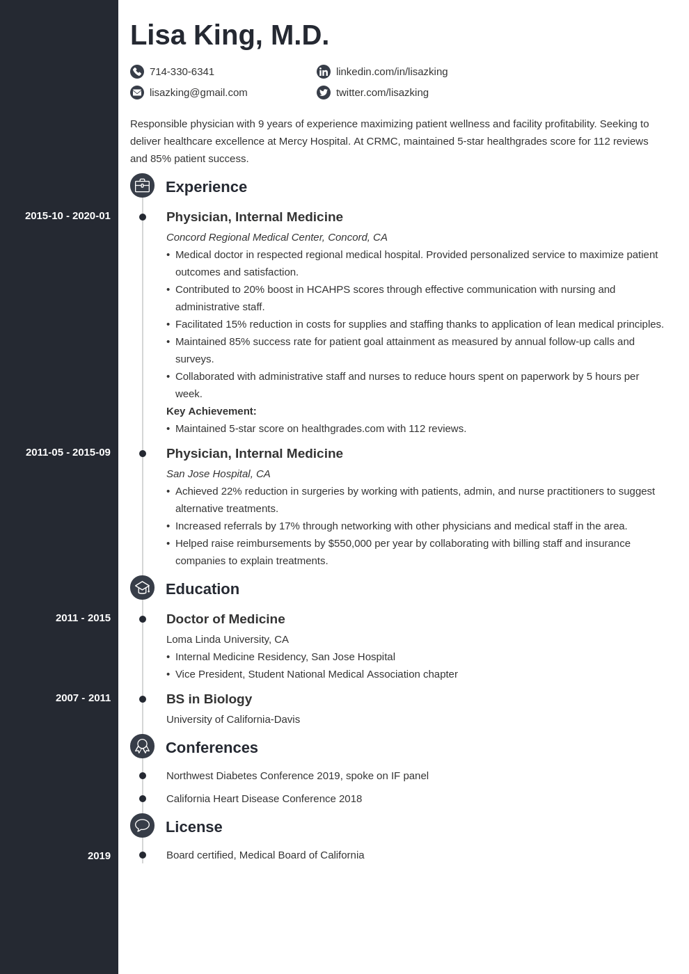 doctor resume example template concept