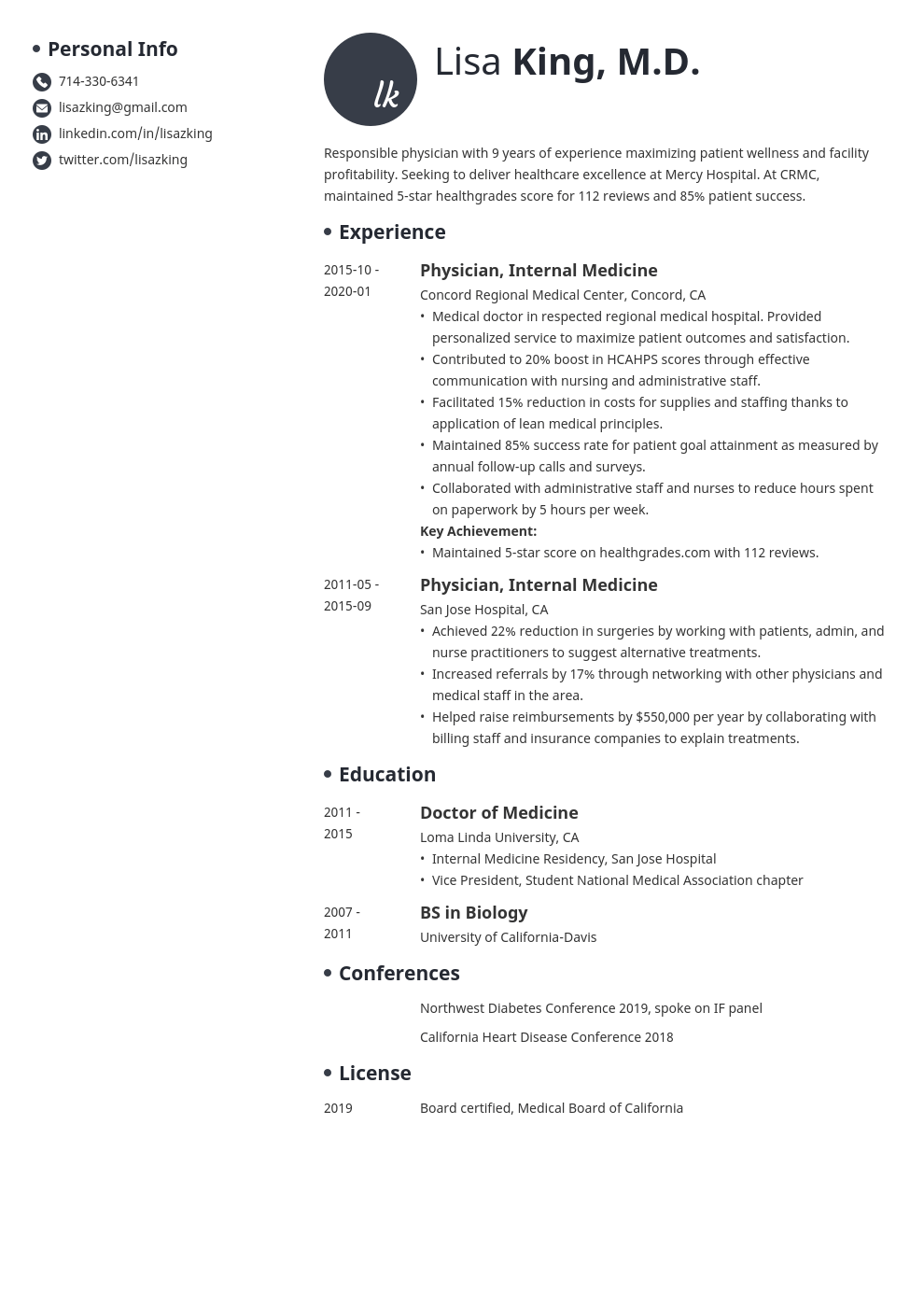 doctor resume example template initials