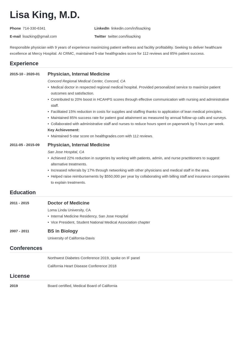 doctor resume example template nanica
