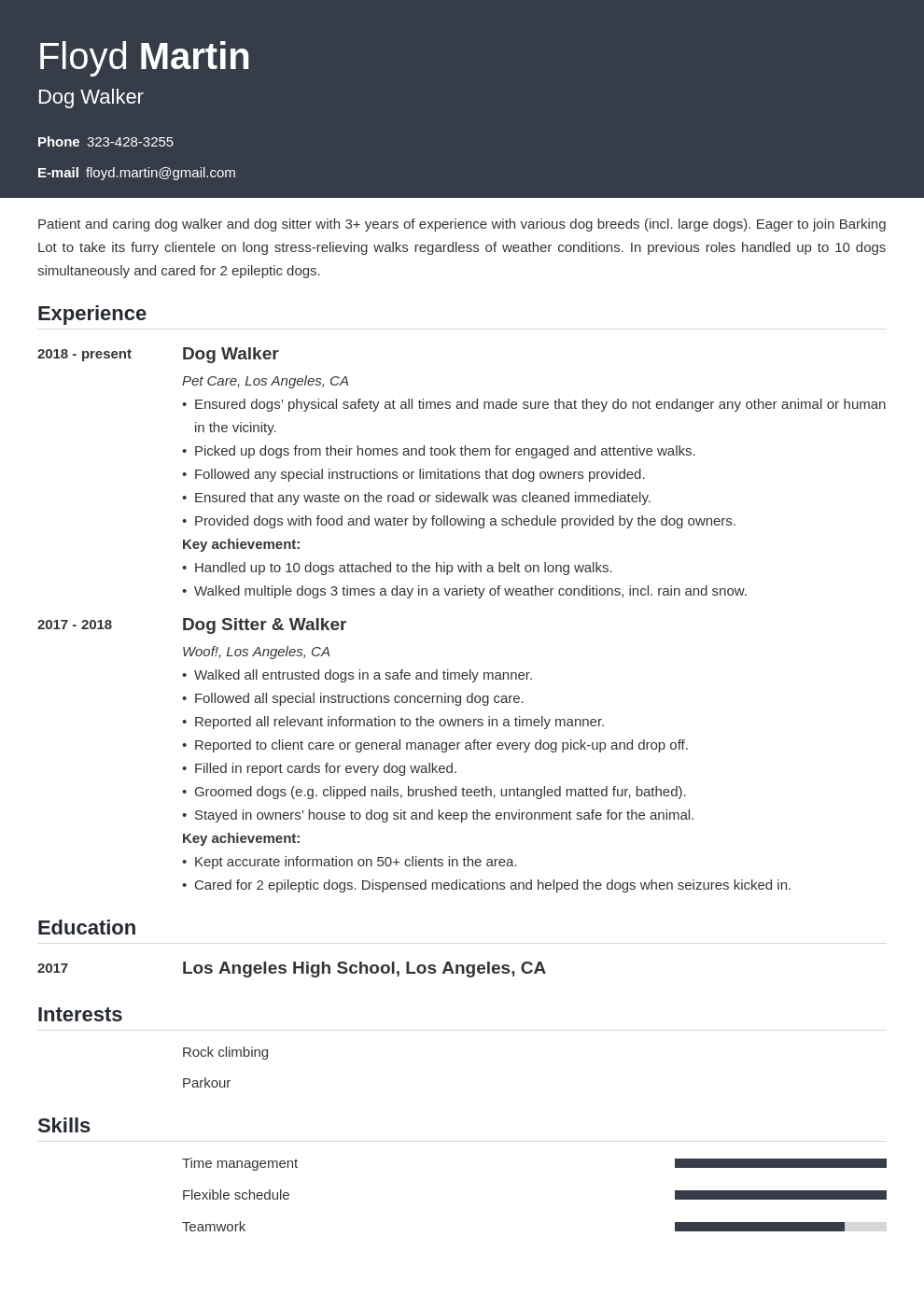 dog walker resume example template influx