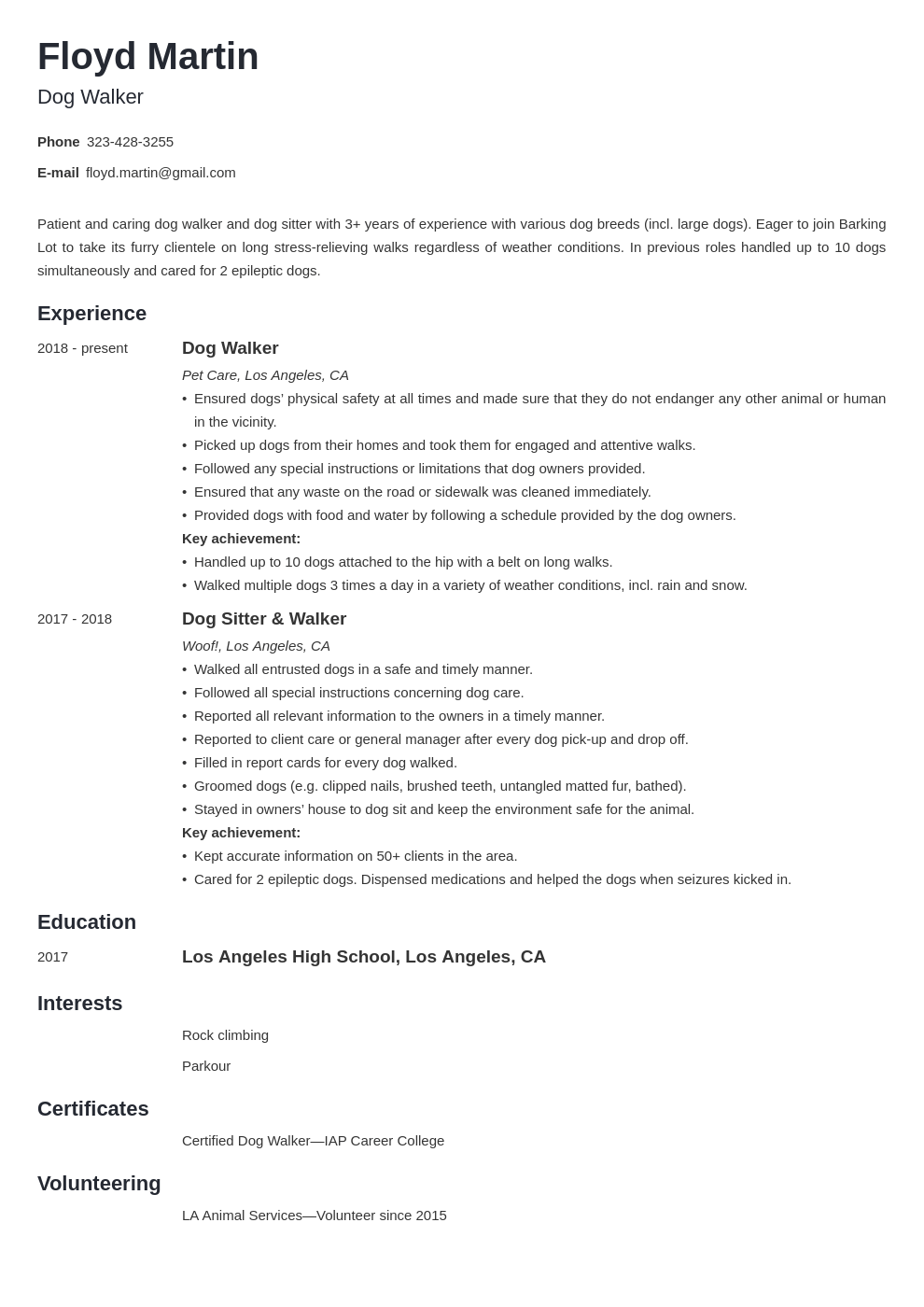 dog walker resume example template minimo