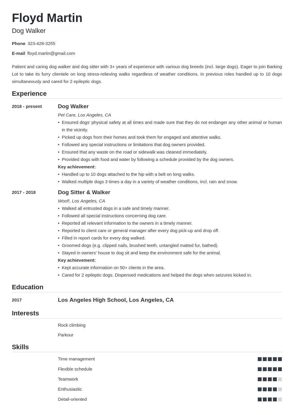 dog walker resume example template nanica