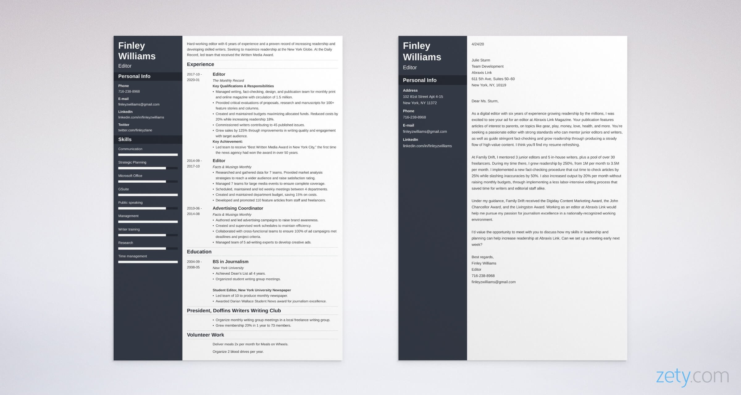 editor resume and cover letter set