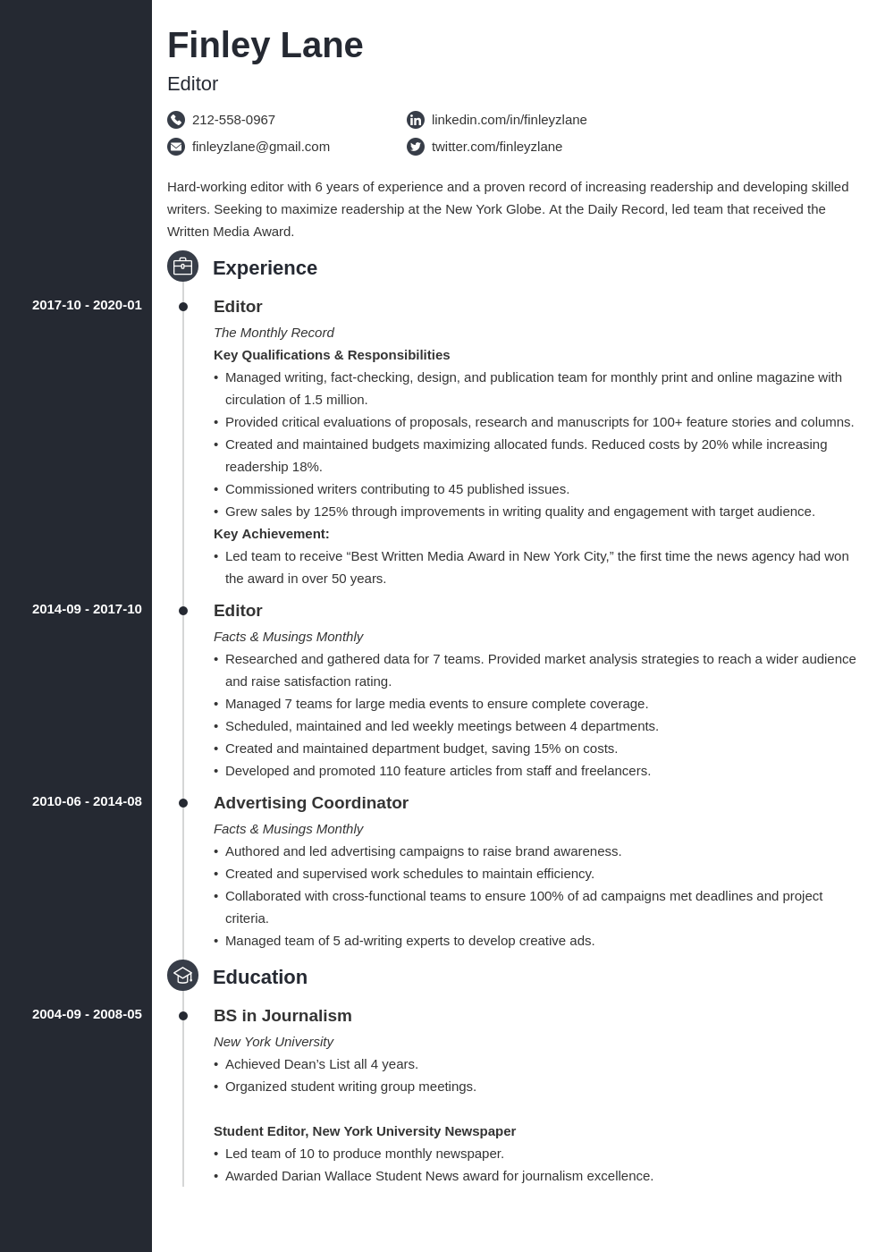 editor resume example template concept