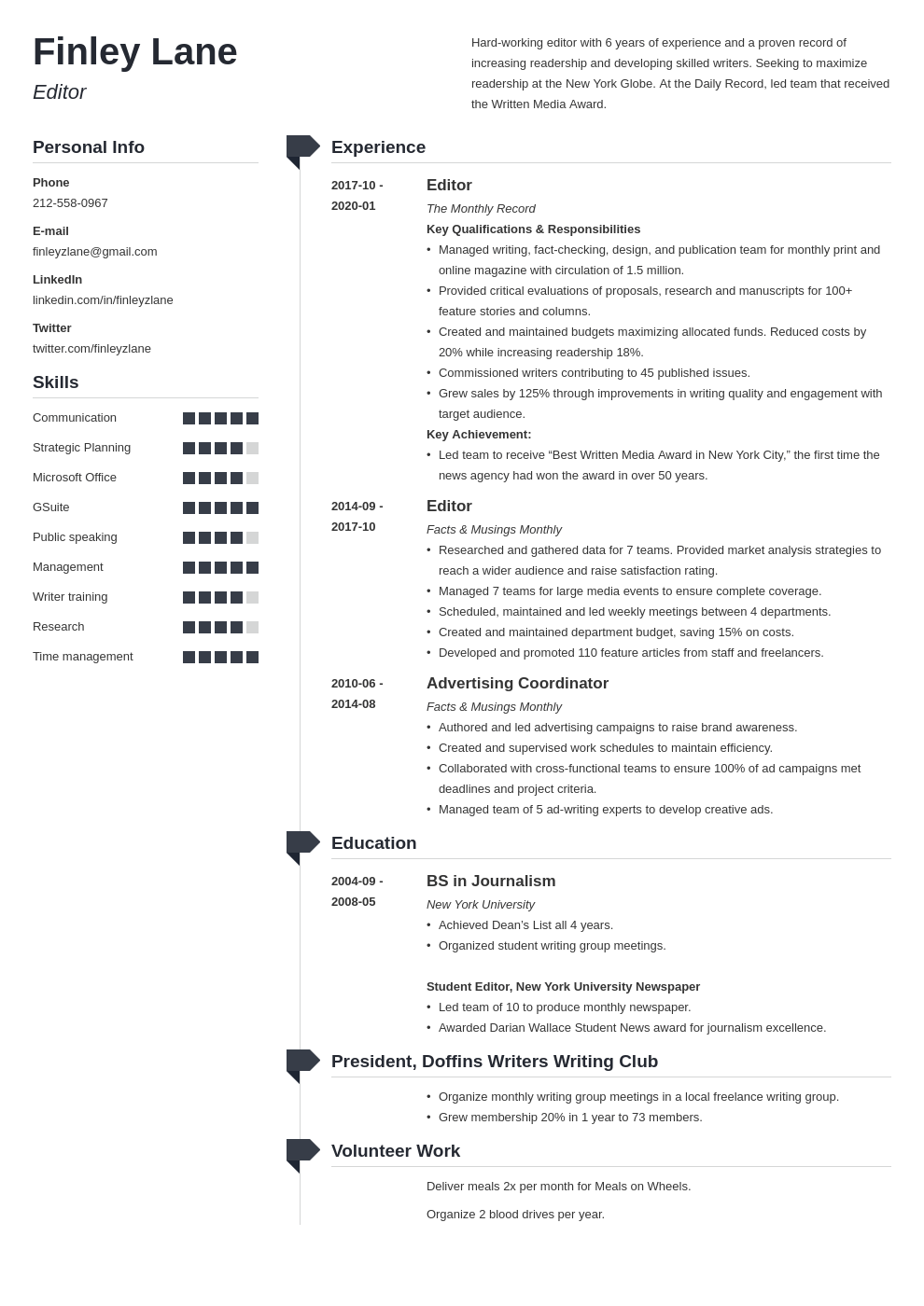 editor resume example template muse