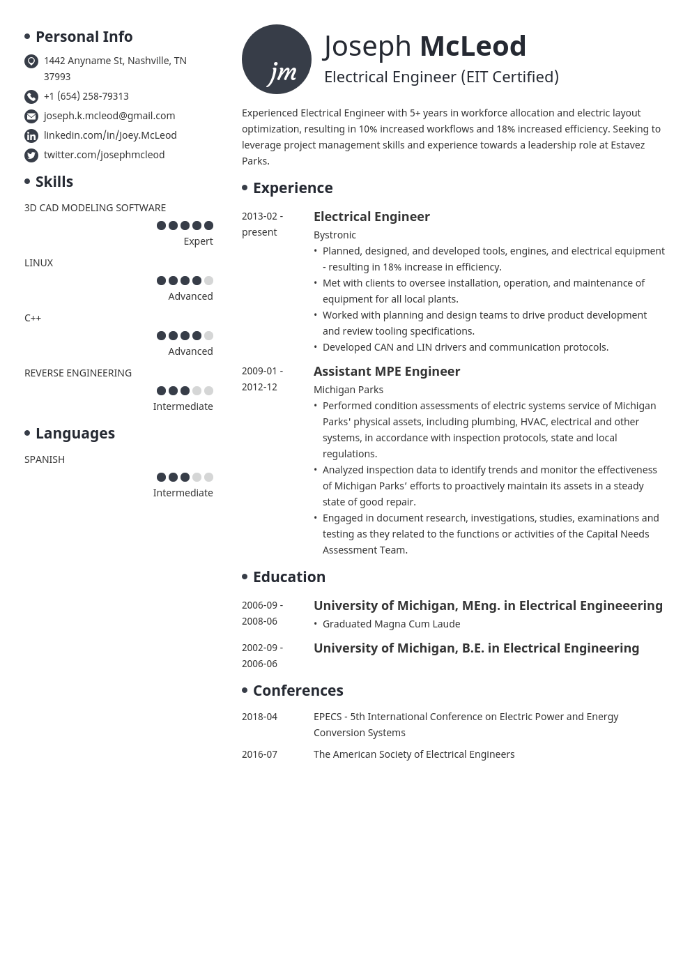 electrical engineering resume example template initials