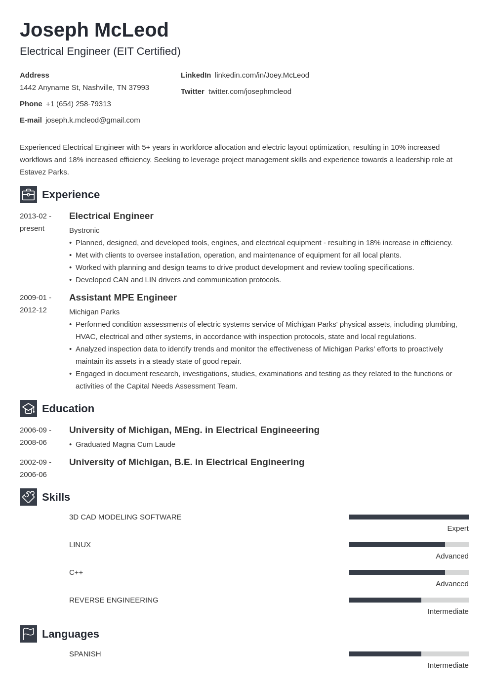electrical engineering resume example template newcast