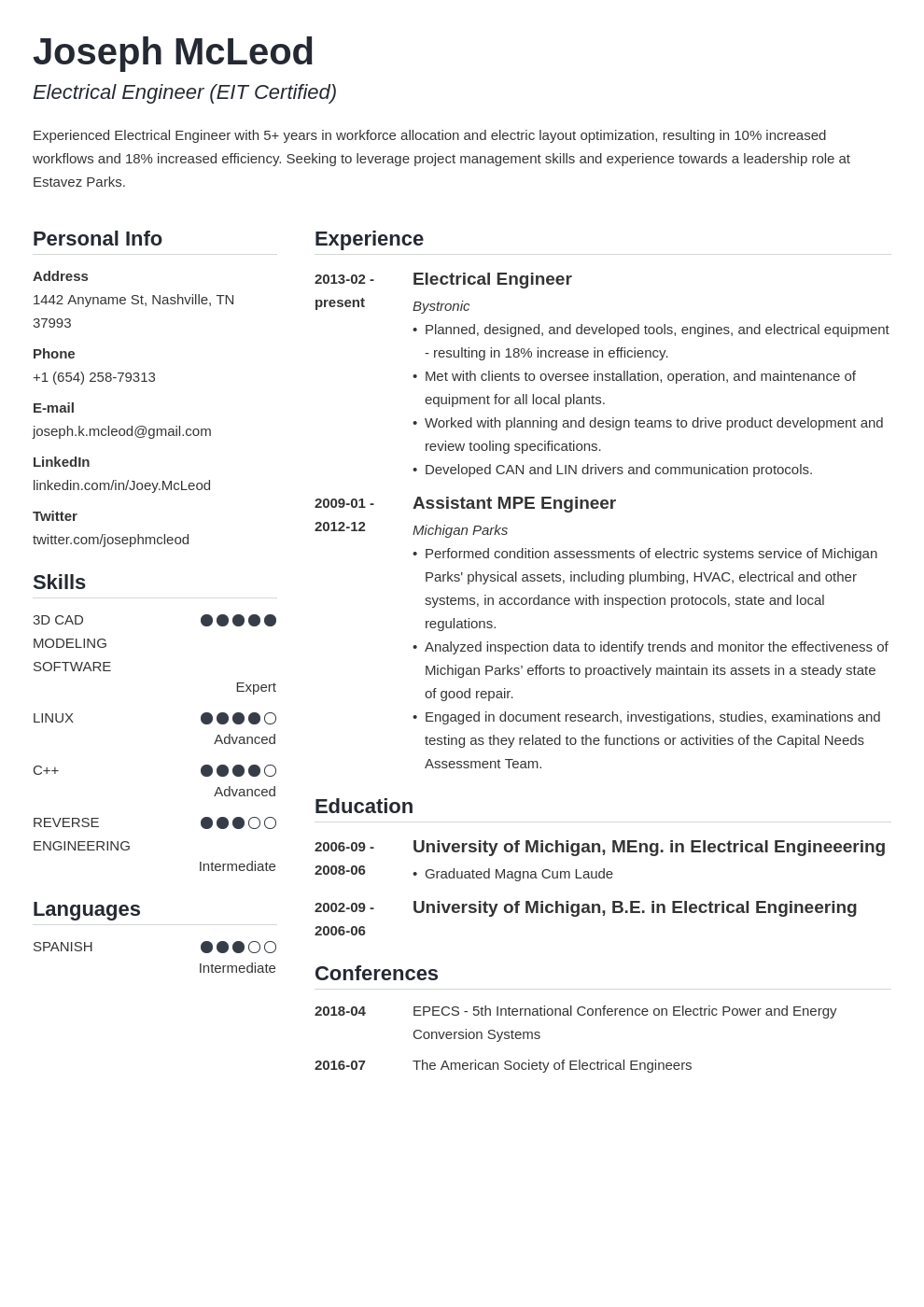 electrical engineering resume example template simple