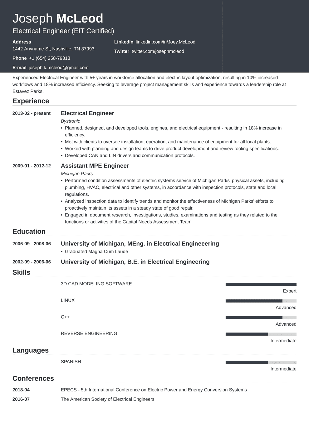 Electrical Engineering Resume Sample No Experience