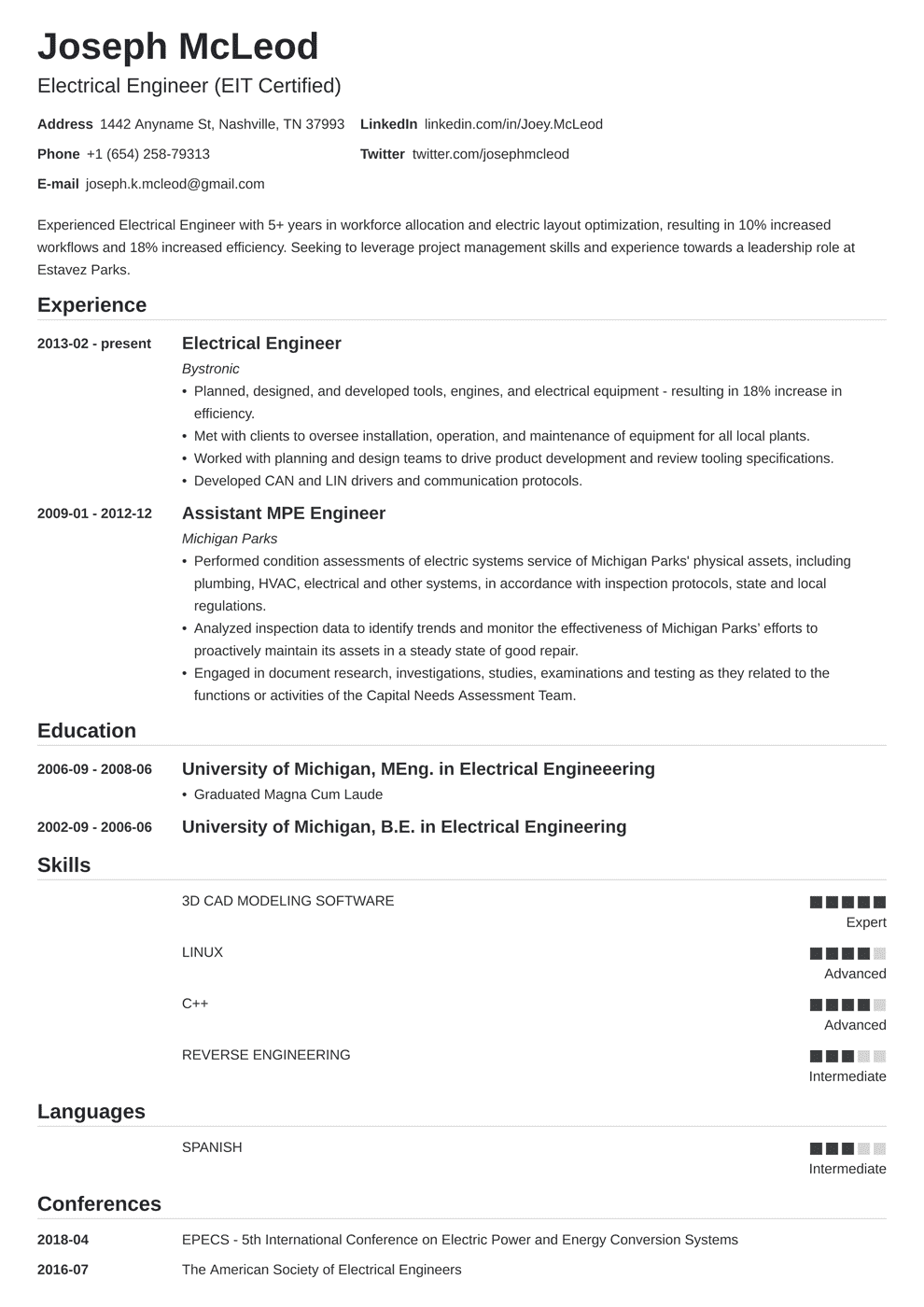 Electrical Engineering Resume: Sample & Writing Guide (20+ Examples)