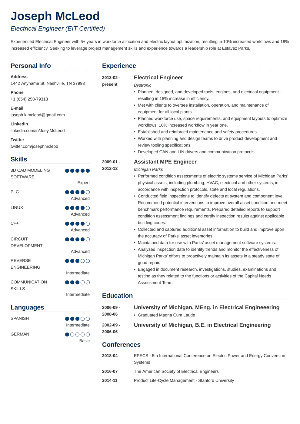 Electrical Engineering Resume: Sample & Writing Guide (20+ ...