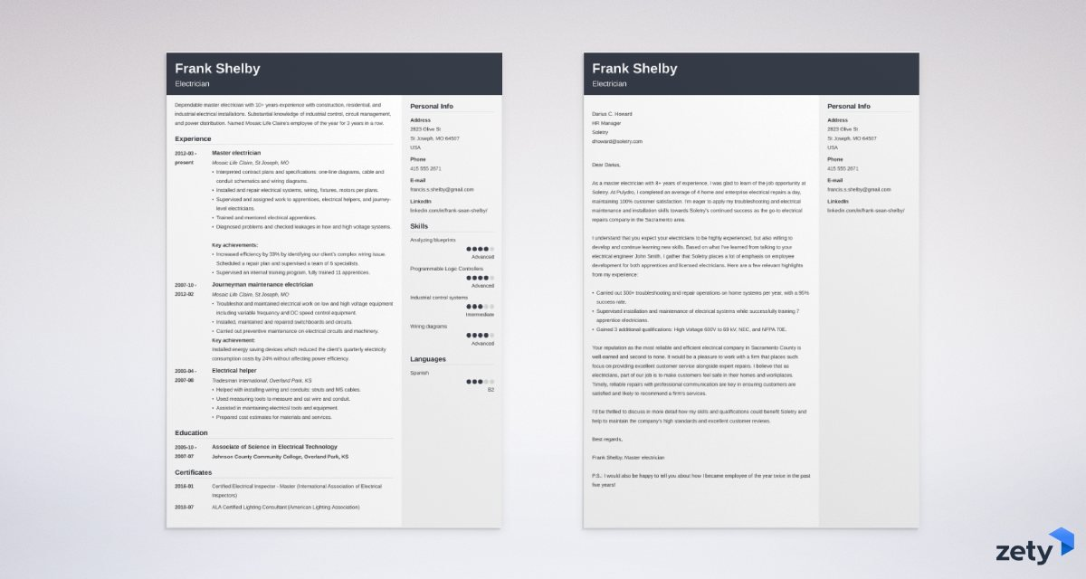 electrician resume and cover letter set