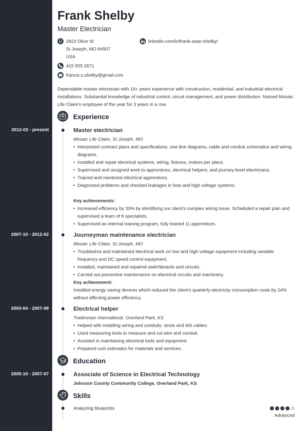 electrician resume example template concept