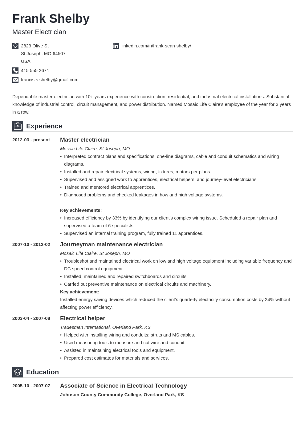 electrician resume example template iconic