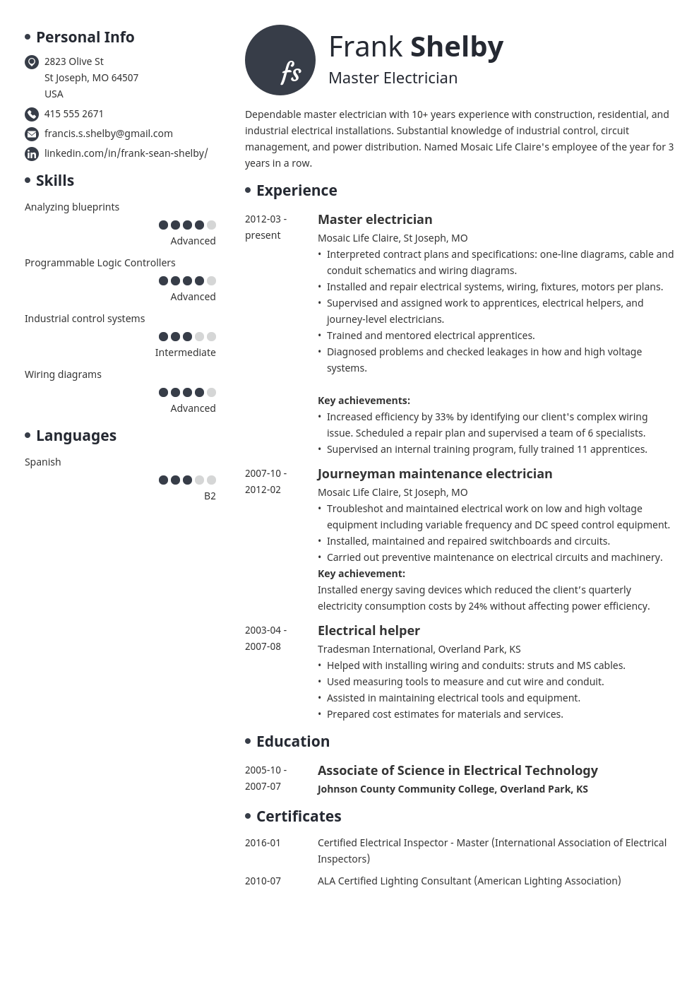 electrician resume example template initials