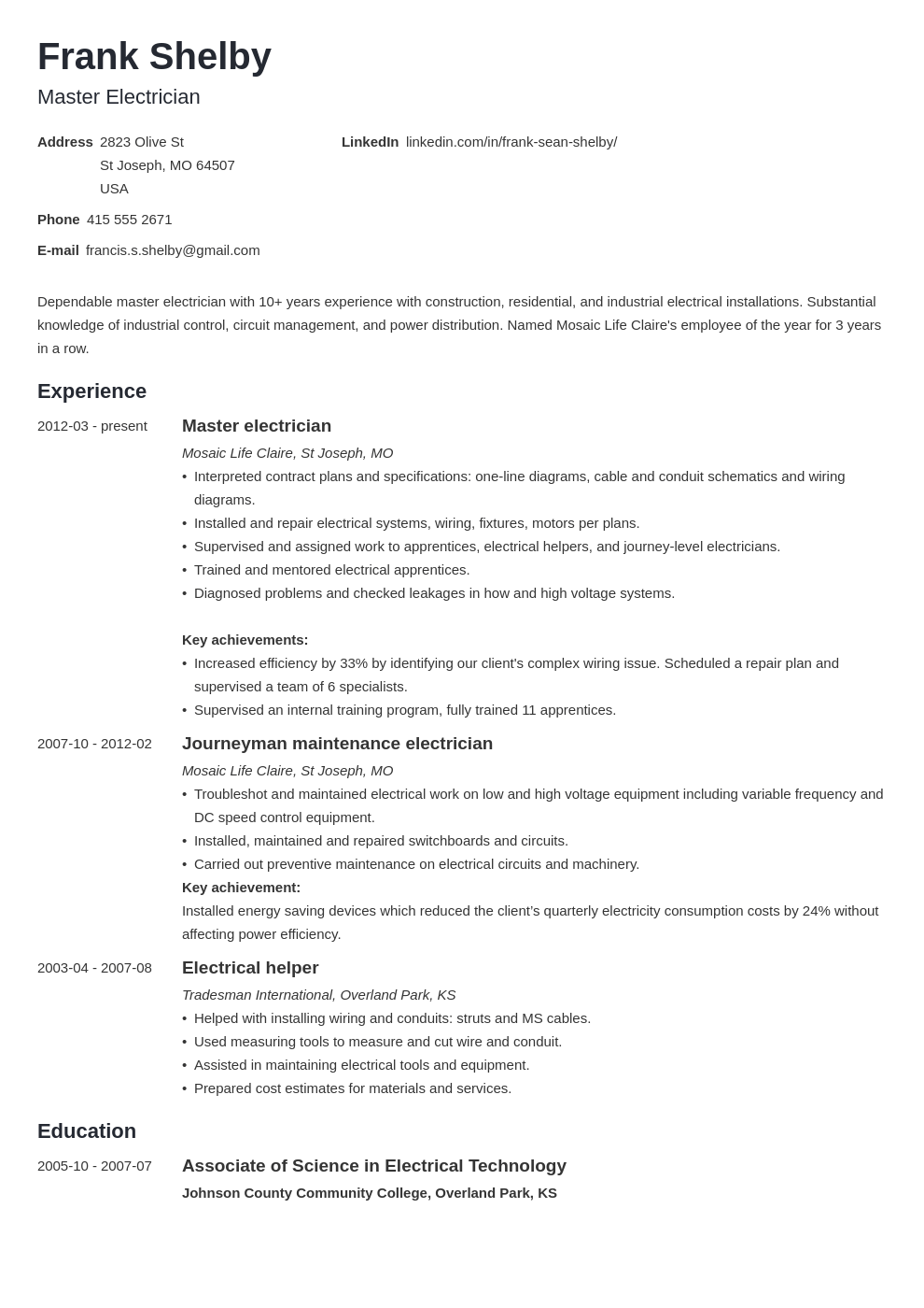 electrician resume example template minimo