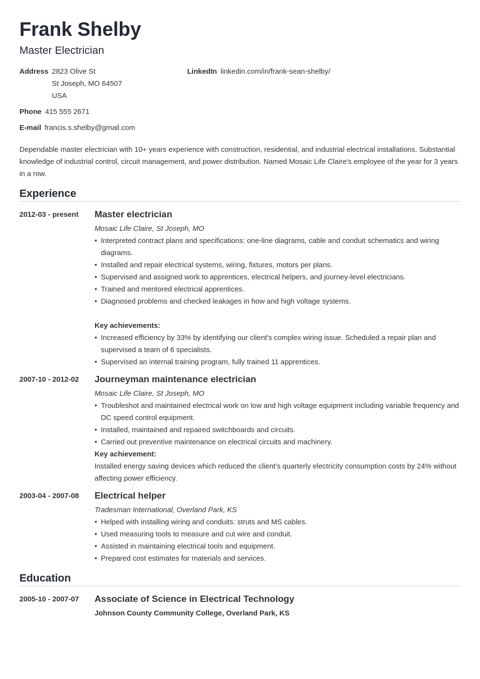 electrician resume example template nanica