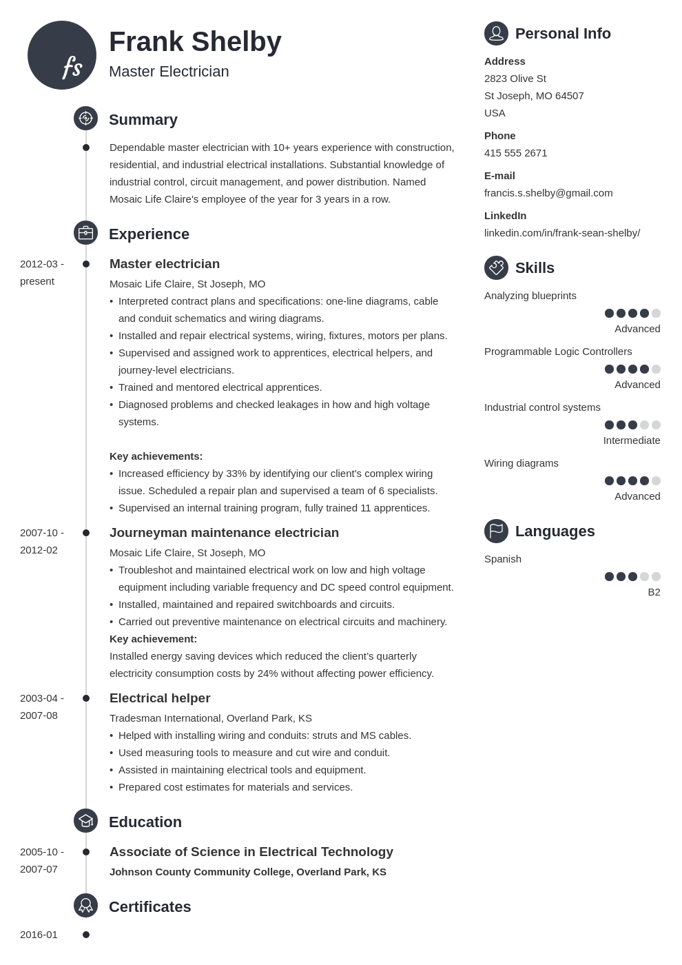 electrician resume example template primo