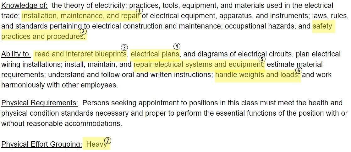 Take A Look At An Entry Level Electrician Job Description: Electrician  Resume Skills  Electrician Resume Templates