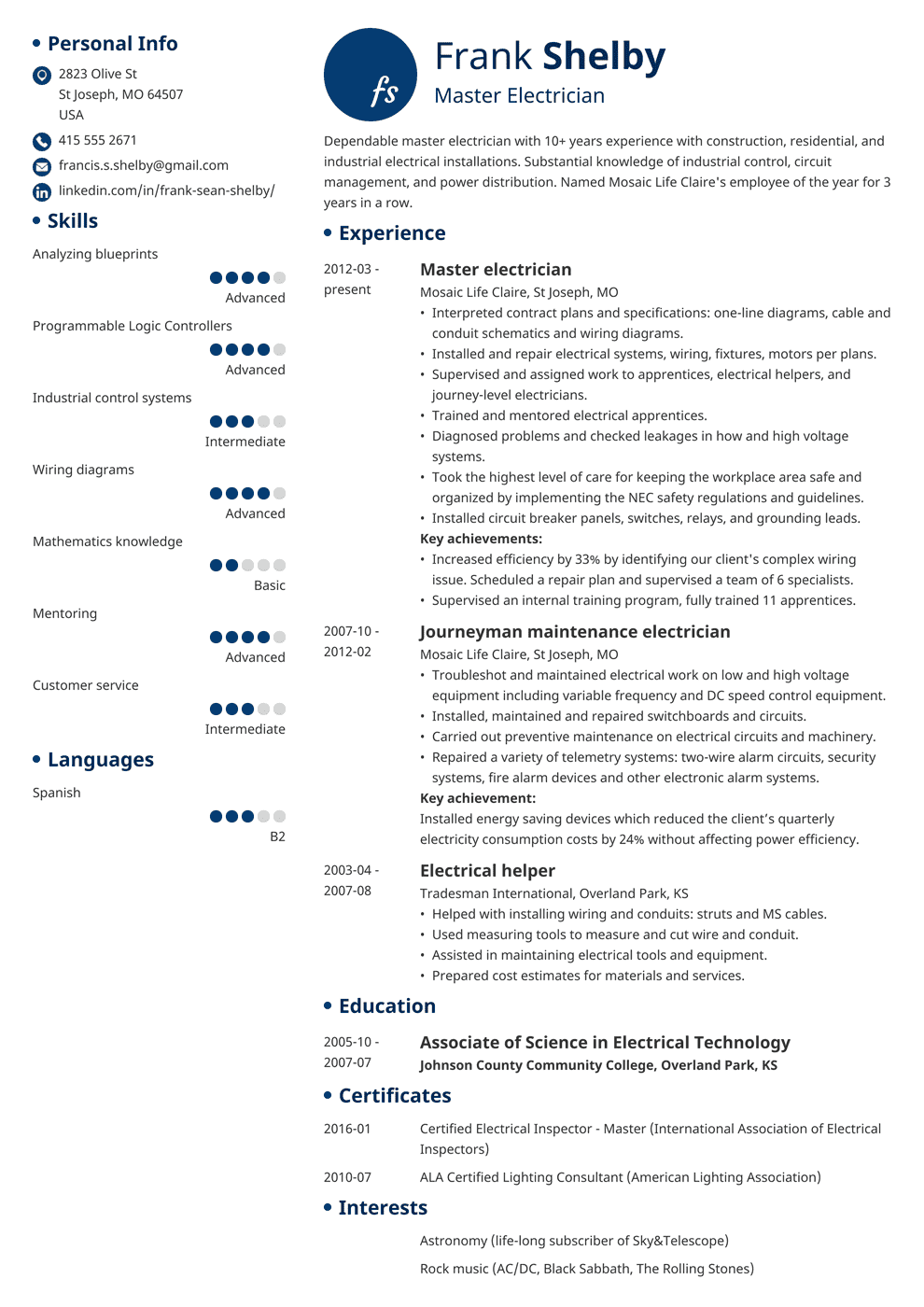 Electrician Resume Sample Complete Guide 20 Examples