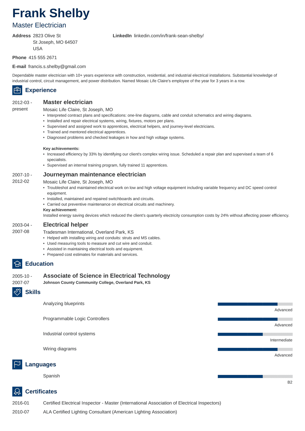 Electrician Resume: Sample & Complete Guide [20+ Examples]