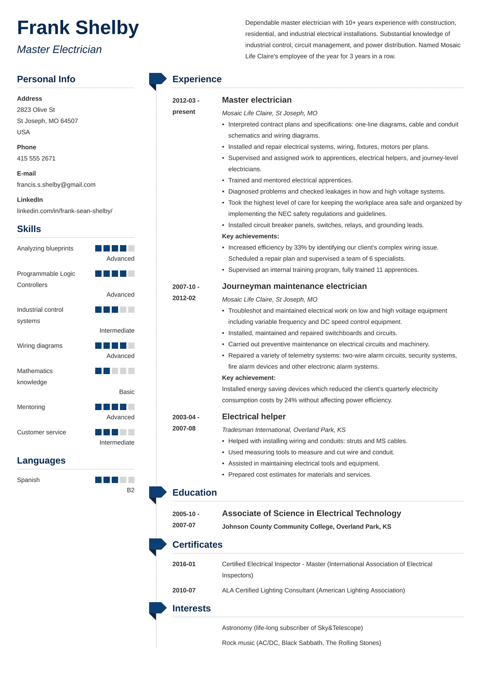 sample resume for electrician