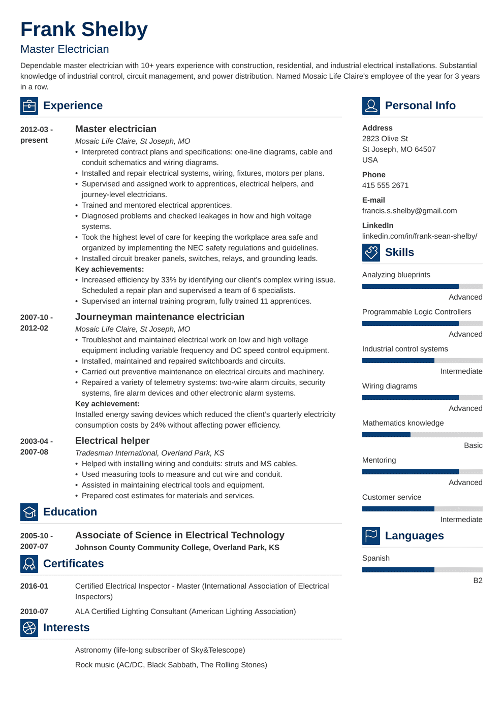 resume templates for electricians