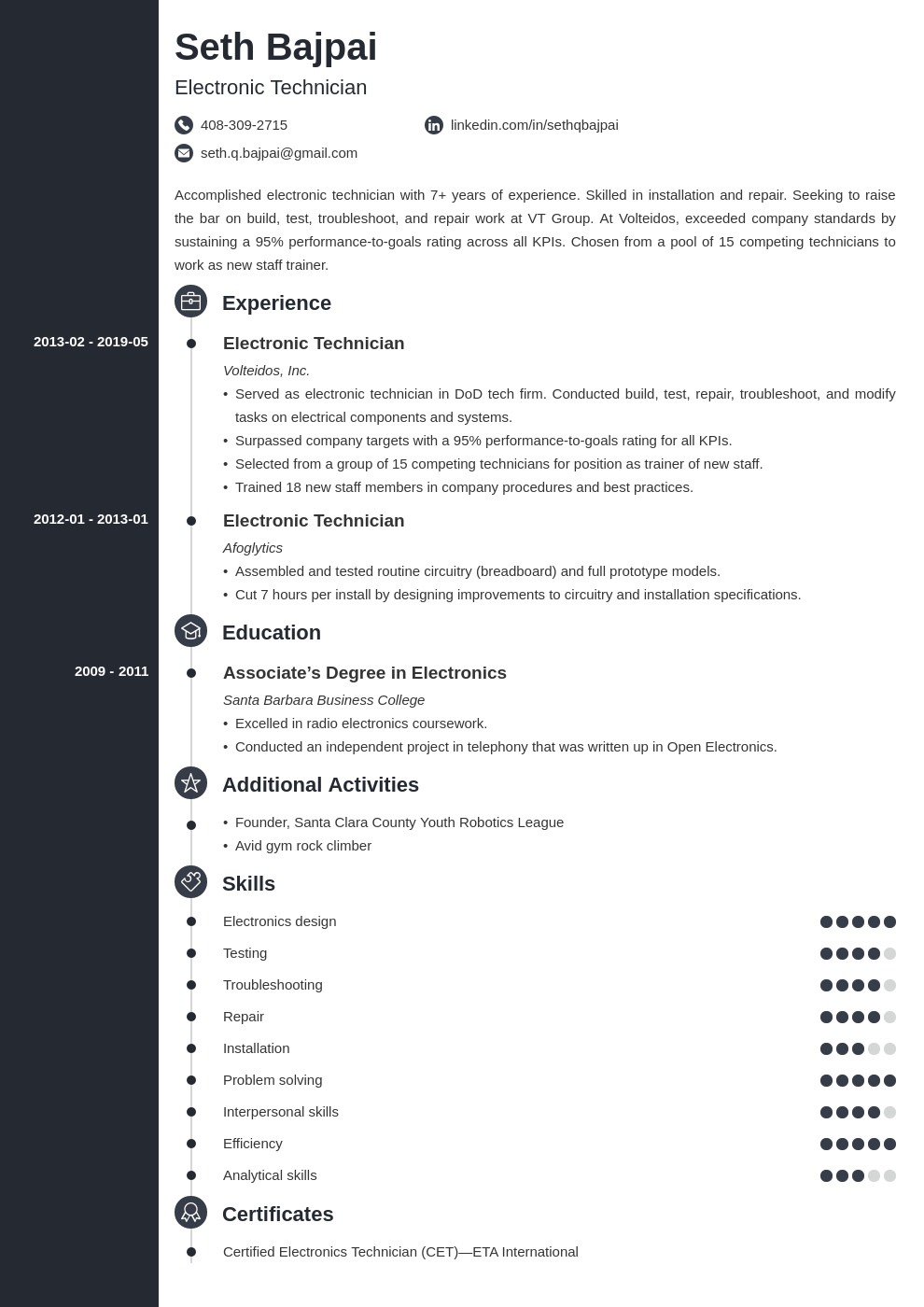 electronic technician resume example template concept