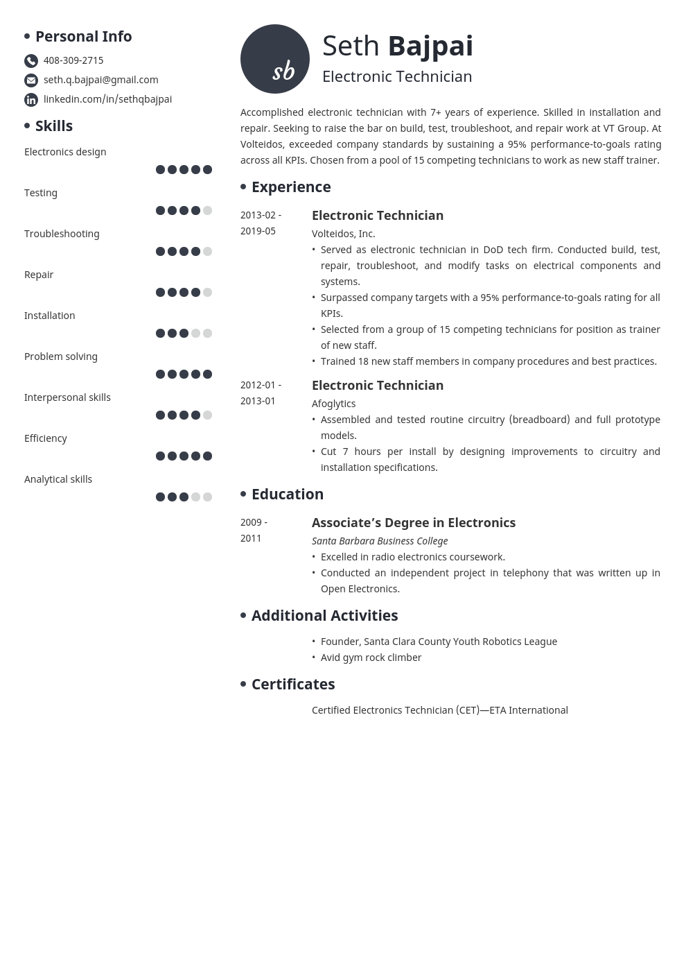 electronic technician resume example template initials