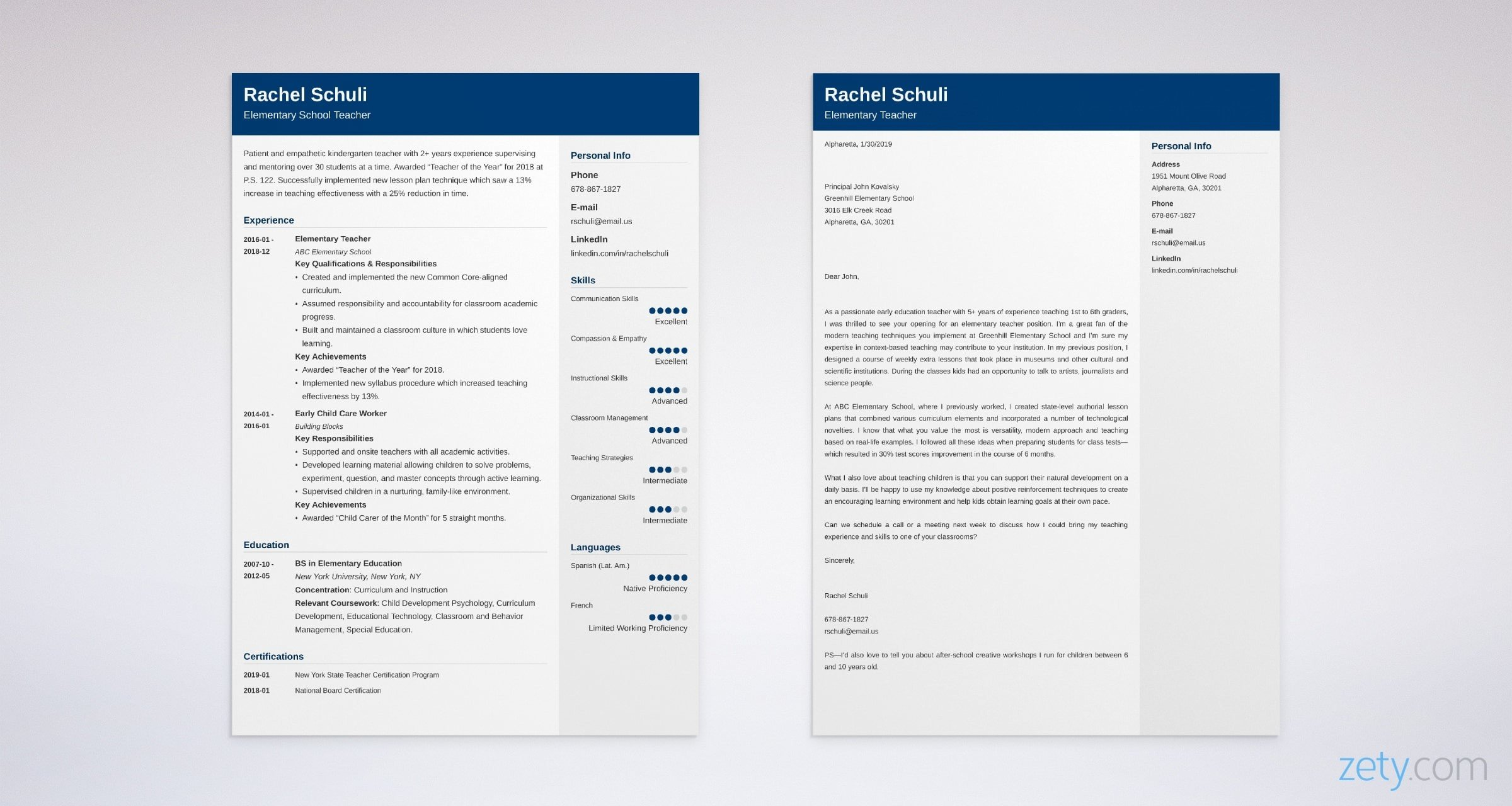 elementary teacher cover letter  samples  format
